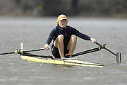 Seville. SPAIN, 17.02.2007,  NED LM1X Gerard van der LINDEN,sculls down to the start area to  compete in Saturdays finals of the FISA Team Cup; held on the River Guadalquiver course. [Photo Peter Spurrier/Intersport Image]   [Mandatory Credit, Peter Spurier/ Intersport Images]. , Rowing Course: Rio Guadalquiver Rowing Course, Seville, SPAIN,