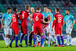 Marcus Rashford of England, Eric Dier of England, Jesse Lingard of England and Wayne Rooney of England and Miral Samardzic of Slovenia, Bojan Jokic of Slovenia with Rok Kronaveter of Slovenia during football match between National teams of Slovenia and England in Round #3 of FIFA World Cup Russia 2018 qualifications in Group F, on October 11, 2016 in SRC Stozice, Ljubljana, Slovenia. Photo by Grega Valancic / Sportida