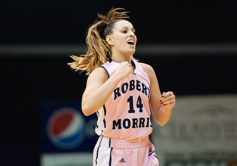 February 22 2016: Robert Morris Colonials guard Ashley Ravelli (14) reacts after a three point basket during the second half in the NCAA Women's Basketball game between the Long Island Blackbirds and the Robert Morris Colonials at the Charles L. Sewall Center in Moon Township, Pennsylvania (Photo by Justin Berl)