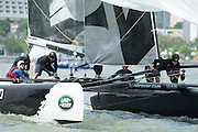 Emirates Team New Zealand wins race one of the Extreme Sailing Series regatta being sailed in Singapore. 20/2/2014