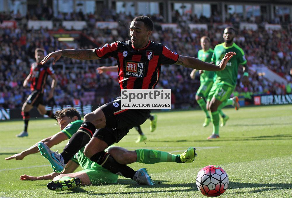 Billy Jones tackles Calum Wilson During Bournemouth vs Sunderland on Saturday 19th September 2015.