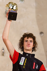 Men Overall 2010 winner Adam Ondra of Czech republic  at Trophy ceremony during Final IFSC World Cup Competition in sport climbing Kranj 2010, on November 14, 2010 in Arena Zlato polje, Kranj, Slovenia. (Photo By Vid Ponikvar / Sportida.com)
