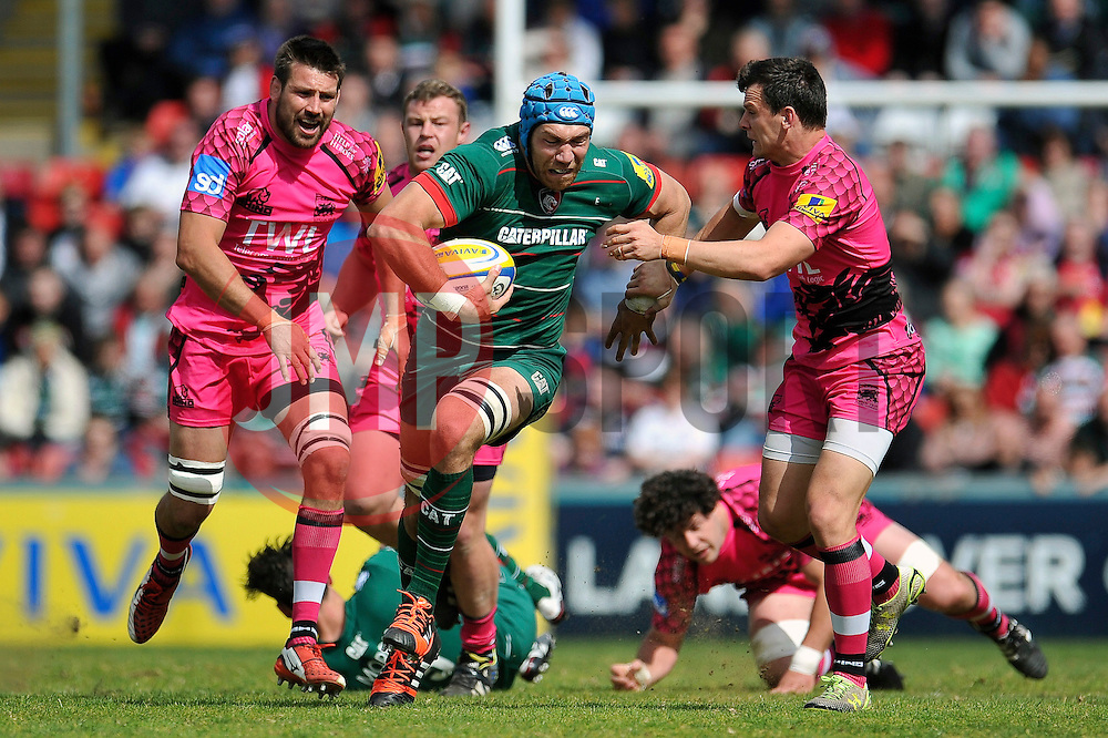 Graham Kitchener of Leicester Tigers takes on the London Welsh defence - Photo mandatory by-line: Patrick Khachfe/JMP - Mobile: 07966 386802 25/04/2015 - SPORT - RUGBY UNION - Leicester - Welford Road - Leicester Tigers v London Welsh - Aviva Premiership