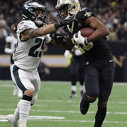 Jan 13, 2019; New Orleans, LA, USA; New Orleans Saints wide receiver Michael Thomas (13) pushes off Philadelphia Eagles free safety Avonte Maddox (29) during the second quarter of a NFC Divisional playoff football game at Mercedes-Benz Superdome. Mandatory Credit: Derick E. Hingle-USA TODAY Sports
