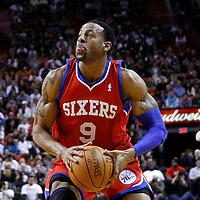 21 January 2012: Philadelphia Sixers small forward Andre Iguodala (9) eyes the basket during the Miami Heat 113-92 victory over the Philadelphia Sixers at the AmericanAirlines Arena, Miami, Florida, USA.