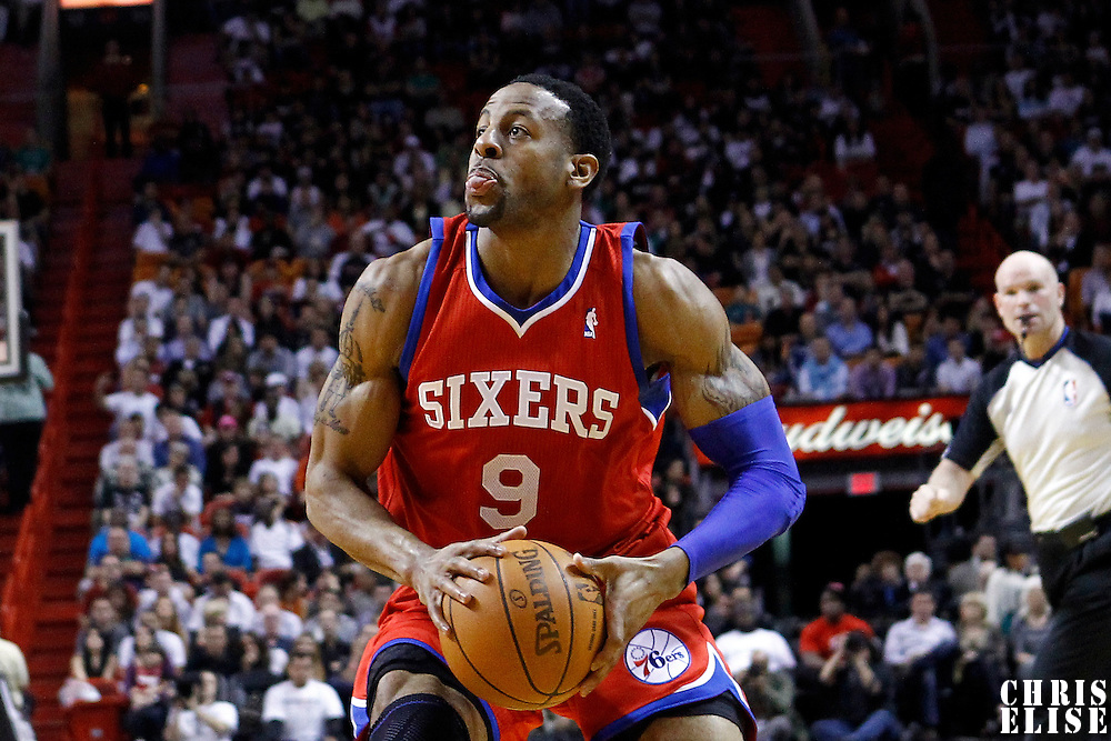 21 January 2012: Philadelphia Sixers small forward Andre Iguodala (9) eyes the basket during the Miami Heat 113-92 victory over the Philadelphia Sixers at the AmericanAirlines Arena, Miami, Florida, USA.