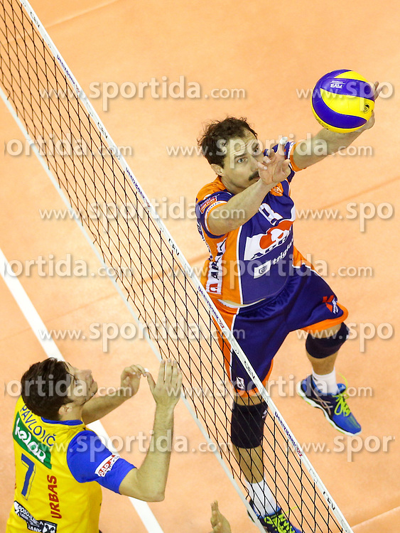 Rok Satler of ACH during volleyball match between ACH Volley Ljubljana and Posojilnica Aich - Dob in Semifinal of MEVZA Cup Men - Final Four, on March 11, 2016 in Hala Tivoli, Ljubljana, Slovenia. Photo by Morgan Kristan / Sportida
