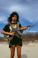 Hispanic woman with AK47 Assault Rifle, South Texas,<br /> MODEL RELEASED