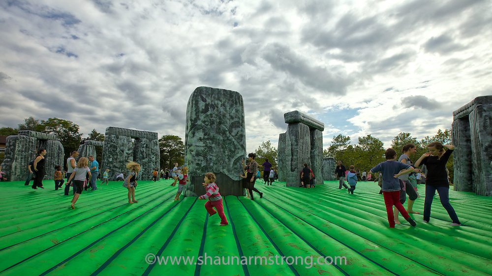 """""""Sacrilege"""" an inflatable Stonehenge bouncy-castle installed in the Fishermead estate in Milton Keynes for one day on 20th July 2012 as part of IF:Milton Keynes International Festival 2012."""