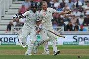Ben Stokes of England clashes with Shikhar Dhawan of India during the 3rd International Test Match 2018 match between England and India at Trent Bridge, West Bridgford, United Kingdon on 18 August 2018.
