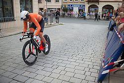 Roxanne Knetemann (NED) of Team Netherlands tackles the final corner of Stage 4 of the Lotto Thuringen Ladies Tour - a 18.7 km individual time trial, starting and finishing in Schmolln on July 16, 2017, in Thuringen, Germany. (Photo by Balint Hamvas/Velofocus.com)