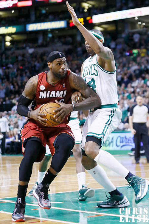 18 March 2013: Boston Celtics power forward Chris Wilcox (44) defends on Miami Heat small forward LeBron James (6) during the Miami Heat 105-103 victory over the Boston Celtics at the TD Garden, Boston, Massachusetts, USA.
