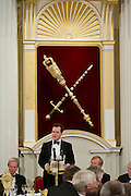 The Lord Mayor of the City of London, David Wootton, hosts the annual Dinner to the Bankers and Merchants at Mansion House, London, UK. Speakers at the dinner were The Lord Mayor, The Chancellor of the Exchequer George Osborne (speaking) and The Governor of the Bank of England Mervyn King. 14 June 2012.