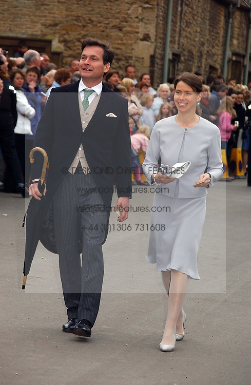 LADY SARAH CHATTO daughter of the late Princess Margaret and her husband MR DANIEL CHATTO at the wedding of Laura Parker Bowles to Harry Lopes held at Lacock, Wiltshire on 6th May 2006.<br />