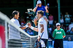 July 19, 2018 - Newport, RI, U.S. - NEWPORT, RI - JULY 19: Tim Smyczek (USA) is congratulated by Jason Jung (TPE) after their quarterfinal match up of the Dell Technologies Hall of Fame Open at the International Tennis Hall of Fame in Newport, Rhode Island on July 19, 2018. Smyczek won the match 6-1, 5-7, 6-4 and advanced to the semifinals. (Photo by Andrew Snook/Icon Sportswire) (Credit Image: © Andrew Snook/Icon SMI via ZUMA Press)