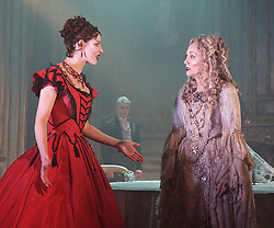 Grace Rowe as Estella.Paula Wilcox as Miss Havisham,.Great Expectations.by Charles Dickens..adapted by Jo Clifford.directed by Graham McLaren.at The Vaudeville Theatre, London, Great Britain, February 4, 2013. Photo by Elliott Franks / i-Images.