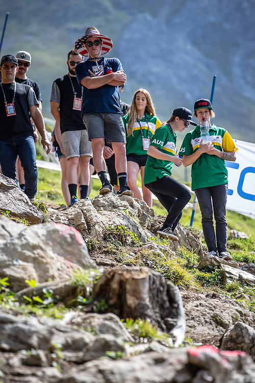 Team USA on Downhill track walk at the 2018 UCI MTB World Championships - Lenzerheide, Switzerland