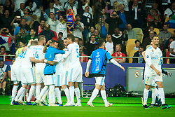 Players of Real Madrid celebrate after Gareth Bale of Real Madrid scored third goal for Real during the UEFA Champions League final football match between Liverpool and Real Madrid at the Olympic Stadium in Kiev, Ukraine on May 26, 2018.Photo by Sandi Fiser / Sportida