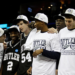 Mar 26, 2011; New Orleans, LA; Butler Bulldogs celebrate following a win over the Florida Gators in the semifinals of the southeast regional of the 2011 NCAA men's basketball tournament against the Florida Gators at New Orleans Arena. Butler defeated Florida 74-71.  Mandatory Credit: Derick E. Hingle
