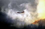 Tanker plane dropping fire retardant on the Grizzly Peak Wildfire. Purcell Mountains in the Kootenai National Forest, northwest Montana.
