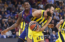 December 8, 2017 - Barcelona, Catalonia, Spain - Luigi Datome and Kevin Seraphin during the match between FC Barcelona v Fenerbahce corresponding to the week 11 of the basketball Euroleague, in Barcelona, on December 08, 2017. (Credit Image: © Urbanandsport/NurPhoto via ZUMA Press)