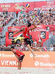 30.07.2017, Donauinsel, Wien, AUT, FIVB Beach Volleyball WM, Wien 2017, Herren, Gruppe L, im Bild v.l. Alexander Horst (AUT), Clemens Doppler (AUT) // f.l. Alexander Horst of Austria Clemens Doppler of Austria during the men's group L match of 2017 FIVB Beach Volleyball World Championships at the Donauinsel in Wien, Austria on 2017/07/30. EXPA Pictures © 2017, PhotoCredit: EXPA/ Sebastian Pucher