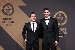 March 19, 2018 - Lisbon, Lisbon, Portugal - Portugal's defender Cedric Soares (L) and Portugal forward Andre Silva (R) poses on arrival at 'Quinas de Ouro' 2018 ceremony held and the Pavilhao Carlos Lopes in Lisbon, on March 19, 2018. (Credit Image: © Dpi/NurPhoto via ZUMA Press)
