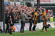Newport  Tom Owen-Evans (20) comes on for  Newport  Joss Labadie (4) during the EFL Sky Bet League 2 match between Newport County and Yeovil Town at Rodney Parade, Newport, Wales on 7 October 2017. Photo by Gary Learmonth.