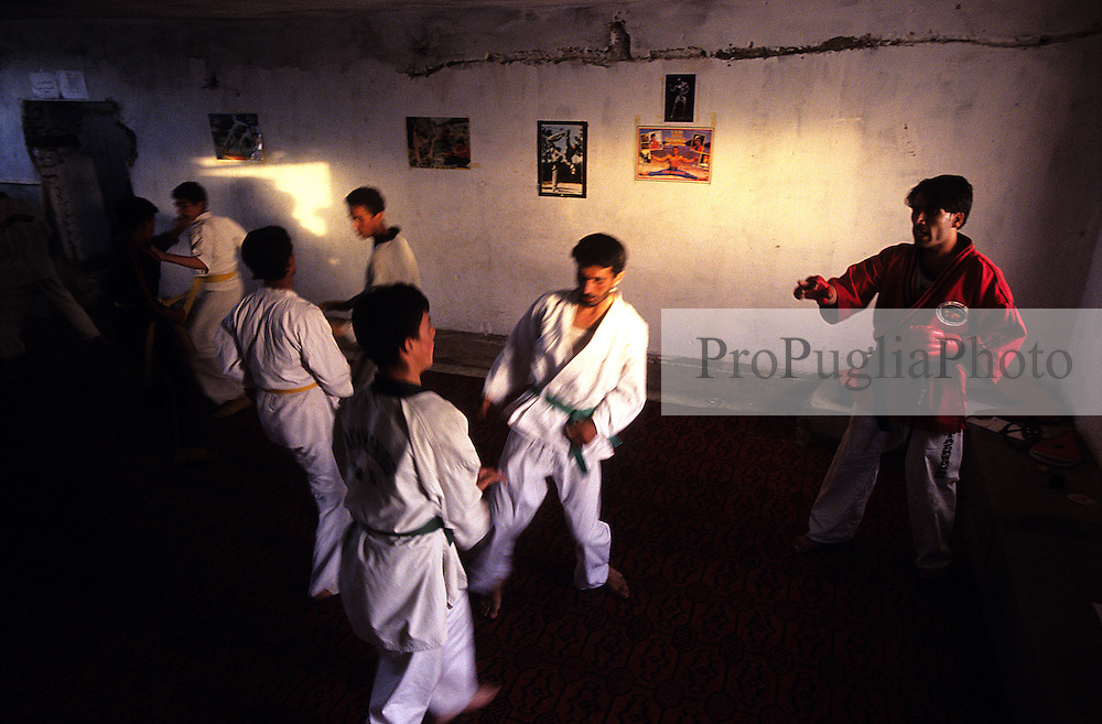Young Afghans learning Tae Kwon Do  in the suburbs of Kabul