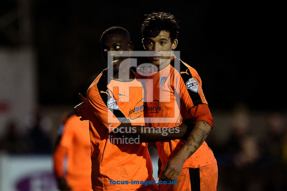 Marvin Sordell of Colchester United celebrates scoring his sides sixth goal to make the scoreline 6-2 with Macauley Bonne of Colchester United during the FA Cup match between Wealdstone FC and Colchester United at the Freebets.co.uk Stadium, Ruislip<br /> Picture by Richard Blaxall/Focus Images Ltd +44 7853 364624<br /> 07/11/2015