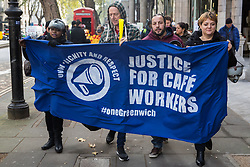 London, UK. 31 October, 2019. Low-paid and predominantly migrant University of Greenwich café workers outsourced via BaxterStorey and belonging to the United Voices of the World (UVW) trade union take part in a coordinated series of 'five strikes in one day' involving also cleaners from the Ministry of Justice, cleaners, caterers and porters from St Mary's Hospital Paddington, cleaners from ITV and Channel 4's offices and park attendants from the Royal Parks. The café workers wish to be brought in-house and given the same terms and conditions as other workers at the university.