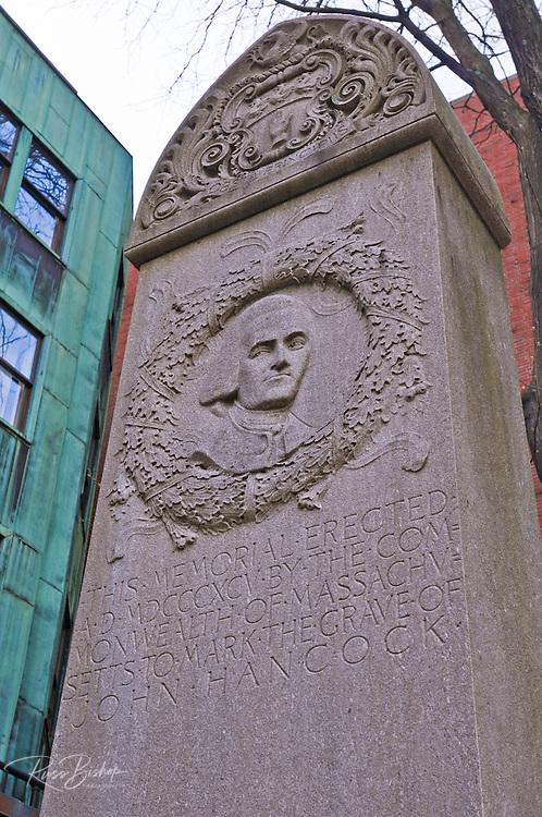 Memorial to John Hancock at the Granary Burial Ground on the Freedom Trail, Boston, Massachusetts