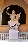 Statue of Homer with a lyre, by Eugene Delaplanche, 1836-91, representing Letters, in the Entrance Hall or Grand Vestibule, accessed from the Rue des Ecoles, in the Palais Academique at the Sorbonne, the main building of the University of Paris in the 5th arrondissement of Paris, France. The Palais Academique today houses the seat of the chancellery of the universities and the academy of Paris. Picture by Manuel Cohen