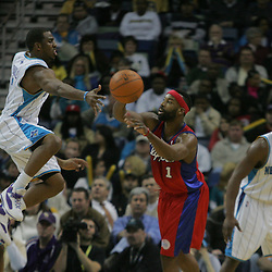 Jan 13, 2010; New Orleans, LA, USA; New Orleans Hornets guard Chris Paul (3) defends as Los Angeles Clippers guard Baron Davis (1) attempts to pass the ball during the second half at the New Orleans Arena. The Hornets defeated the Clippers 108-94. Mandatory Credit: Derick E. Hingle-US PRESSWIRE
