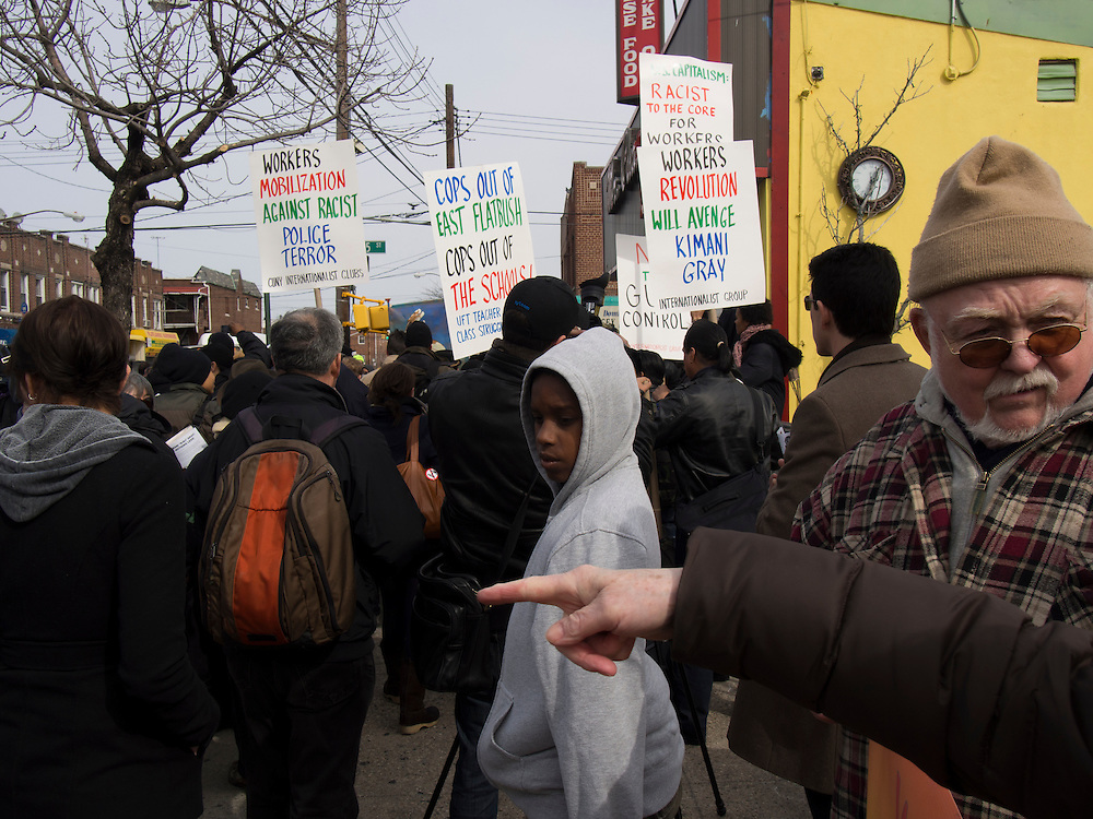 People gather prior to a Kimani Gray protest march in East Flatbush.