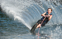 James Bradley of Gilford enjoys some calm water for some slalom skiing on Lake Winnipesaukee taking advantage of the last week of summer before heading back to school in Massachusetts after Labor Day.  (Karen Bobotas/for the Laconia Daily Sun)