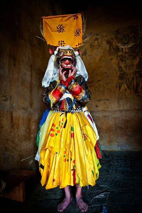 Asia, Tibet, Bhutan, Phobjikha, valley, Gangte, monastery, monk, mask, actor, performer