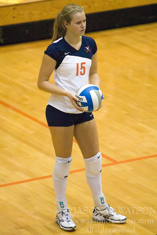 Virginia Cavaliers S Kelly Irvin (15)..The Virginia Cavaliers Volleyball team defeated the Florida State Seminoles 3 games to 1 at Memorial Gymnasium in Charlottesville, VA on September 20, 2007.