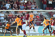 Northampton Town defender Ash Taylor (6) hits the bar during the EFL Sky Bet League 1 match between Northampton Town and Oldham Athletic at Sixfields Stadium, Northampton, England on 5 May 2018. Picture by Dennis Goodwin.