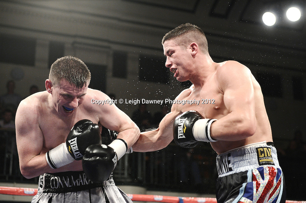 Ronnie Heffron defeats Peter McDonagh in Welterweight contest at York Hall, Bethnal Green, London on the 1st November 2012. Frank Warren Promotions. © Leigh Dawney Photography 2012.