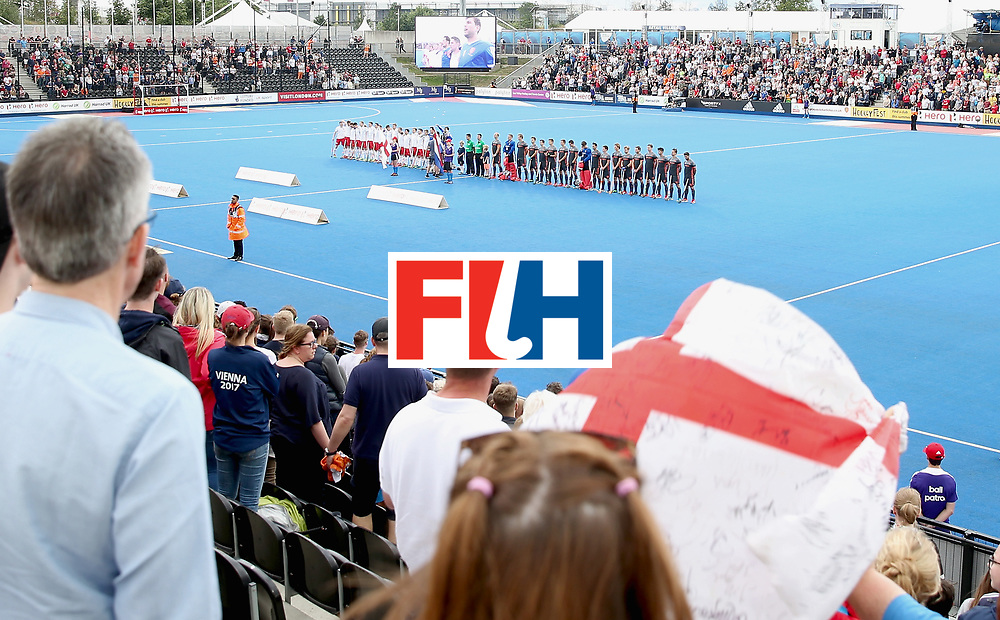 LONDON, ENGLAND - JUNE 24: A general view inside the stadium during the national anthems prior to the semi-final match between England and the Netherlands on day eight of the Hero Hockey World League Semi-Final at Lee Valley Hockey and Tennis Centre on June 24, 2017 in London, England.  (Photo by Alex Morton/Getty Images)