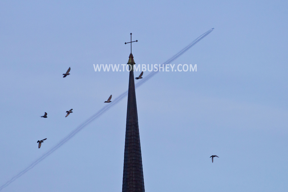 Middletown, New York - Middletown steeples on  Nov. 23, 2014.