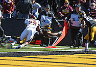 September 22 2012: Iowa Hawkeyes wide receiver Kevonte Martin-Manley (11) dives for the end zone on a 10 yard touchdown reception during the first half of the NCAA football game between the Central Michigan Chippewas and the Iowa Hawkeyes at Kinnick Stadium in Iowa City, Iowa on Saturday September 22, 2012. Central Michigan defeated Iowa 32-31.