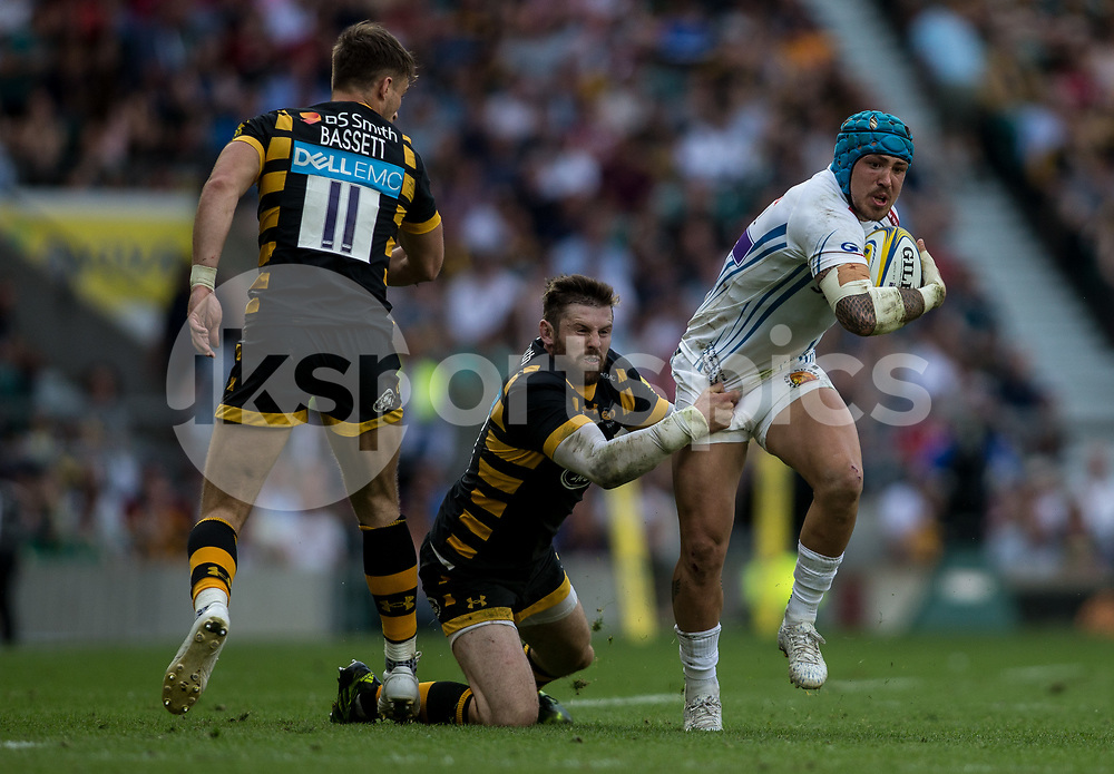 Jack Nowell of Exeter Chiefs tries to escape during the Aviva Premiership play-off Final between Wasps and Exeter Chiefs at Twickenham Stadium, Twickenham, United Kingdom on 27 May 2017. Photo by Steve Ball.