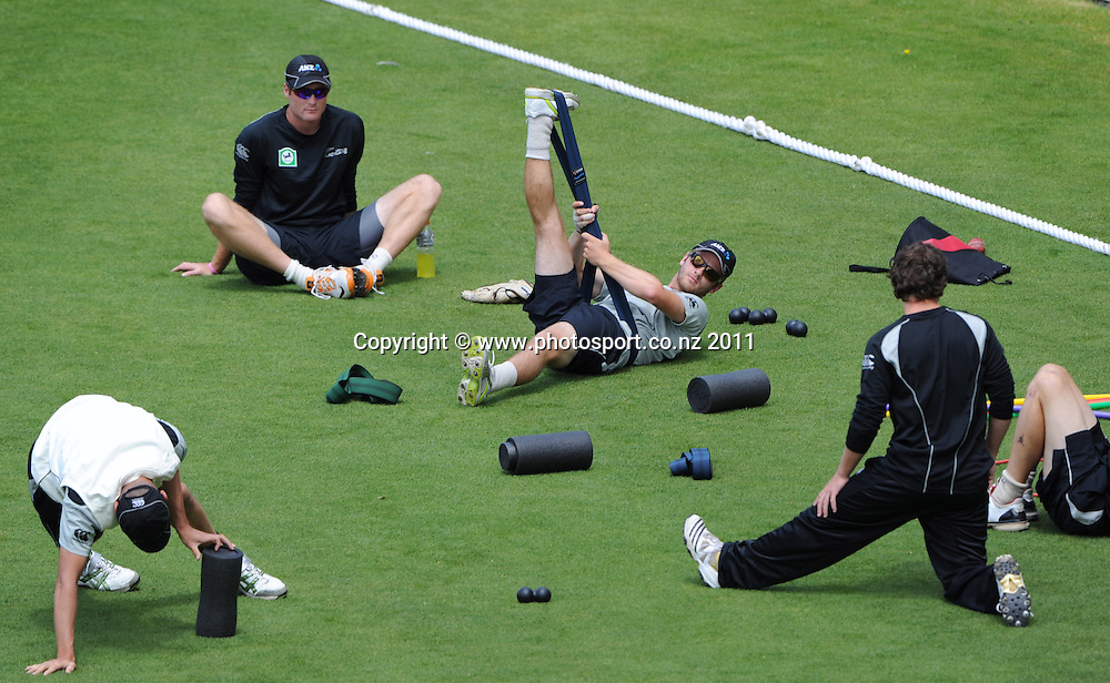 Kane Williamson stretches at training ahead of the second cricket test match versus Australia in Hobart. Thursday 8 December 2011. Photo: Andrew Cornaga/Photosport.co.nz