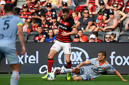 SYDNEY, AUSTRALIA - NOVEMBER 02: Western Sydney Wanderers forward Mitchell Duke (7) controls the ball during the round 4 A-League soccer match between Western Sydney Wanderers FC and Brisbane Roar FC on November 02, 2019 at Bankwest Stadium in Sydney, Australia. (Photo by Speed Media/Icon Sportswire)