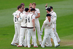 Dejection for Somerset's Johann Myburgh as he is dismissed for 10. - Photo mandatory by-line: Harry Trump/JMP - Mobile: 07966 386802 - 07/04/15 - SPORT - CRICKET - Pre Season - Somerset v Lancashire - Day 1 - The County Ground, Taunton, England.