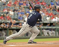 September 13, 2017 - Arlington, TX, USA - The Seattle Mariners' Jean Segura hits a single during the first inning against the Texas Rangers at Globe Life Park in Arlington, Texas, on Wednesday, Sept. 13, 2017. (Credit Image: © Max Faulkner/TNS via ZUMA Wire)