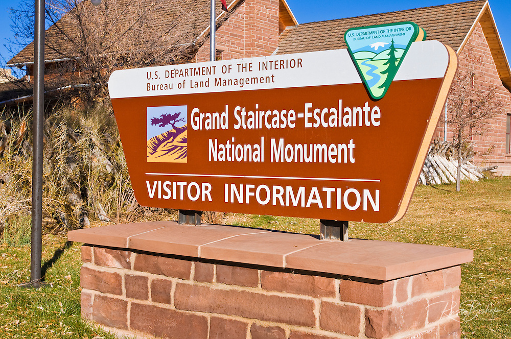 Grand Staircase-Escalante National Monument sign at the visitor center in Cannonville, Utah