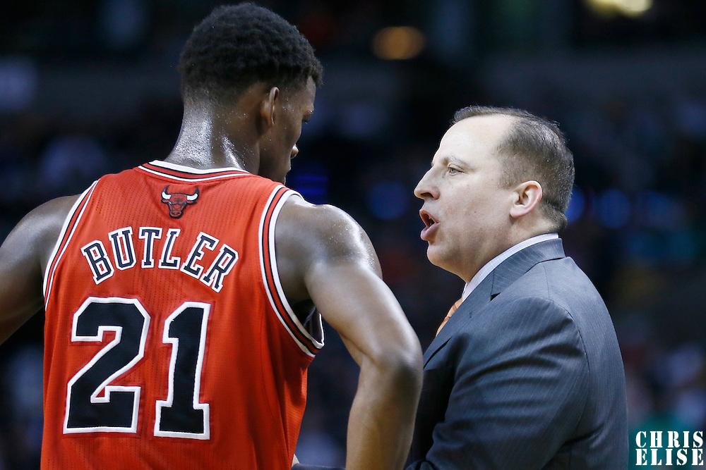 13 February 2013: Chicago Bulls head coach Tom Thibodeau talks to Chicago Bulls small forward Jimmy Butler (21) during the Boston Celtics 71-69 victory over the Chicago Bulls at the TD Garden, Boston, Massachusetts, USA.